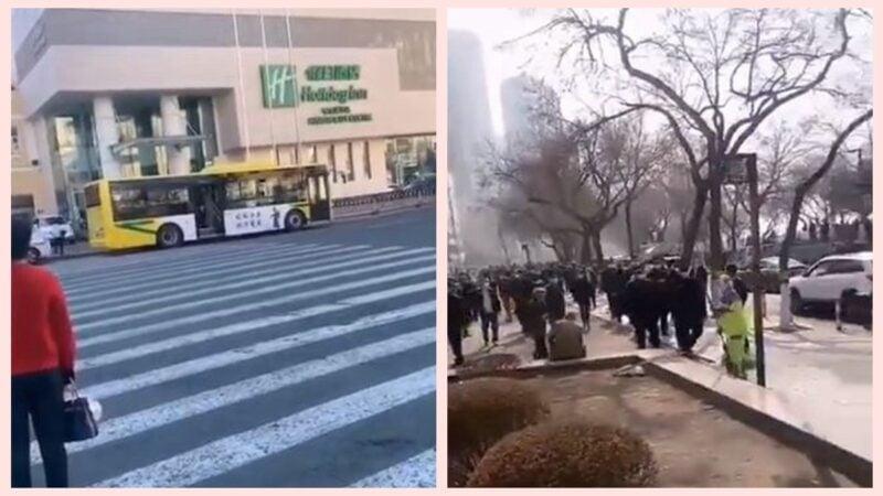 哈爾濱疫情失控,警察上街驅散民眾,一輛巴士發現感染者,全車人被隔離。(影片截圖)