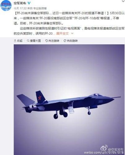 5月底,中共央視報道空軍飛行訓練時插播兩秒殲10與殲20畫面。空軍隨即公開否認,稱殲-20尚未裝備空軍部隊。(網絡截圖)