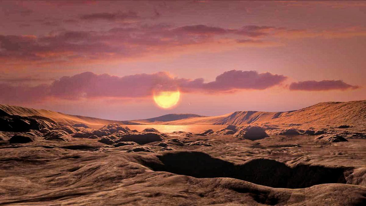 天文學家在300光年外,發現了與地球極為類似的行星。圖為藝術家對該行星表面的想像圖。(NASA/Ames Research Center/Daniel Rutter)