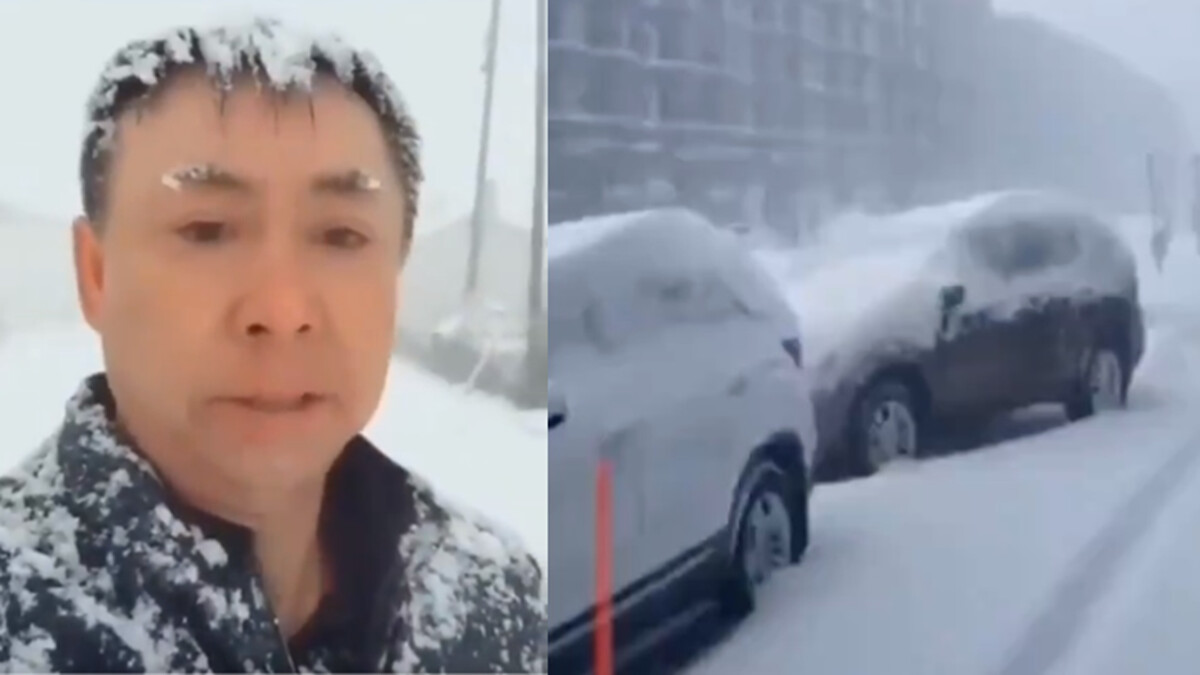 影片顯示,黑龍江哈爾濱宜蘭縣20日不但有暴風雪,同時還傳來轟隆隆的雷聲。(影片截圖)