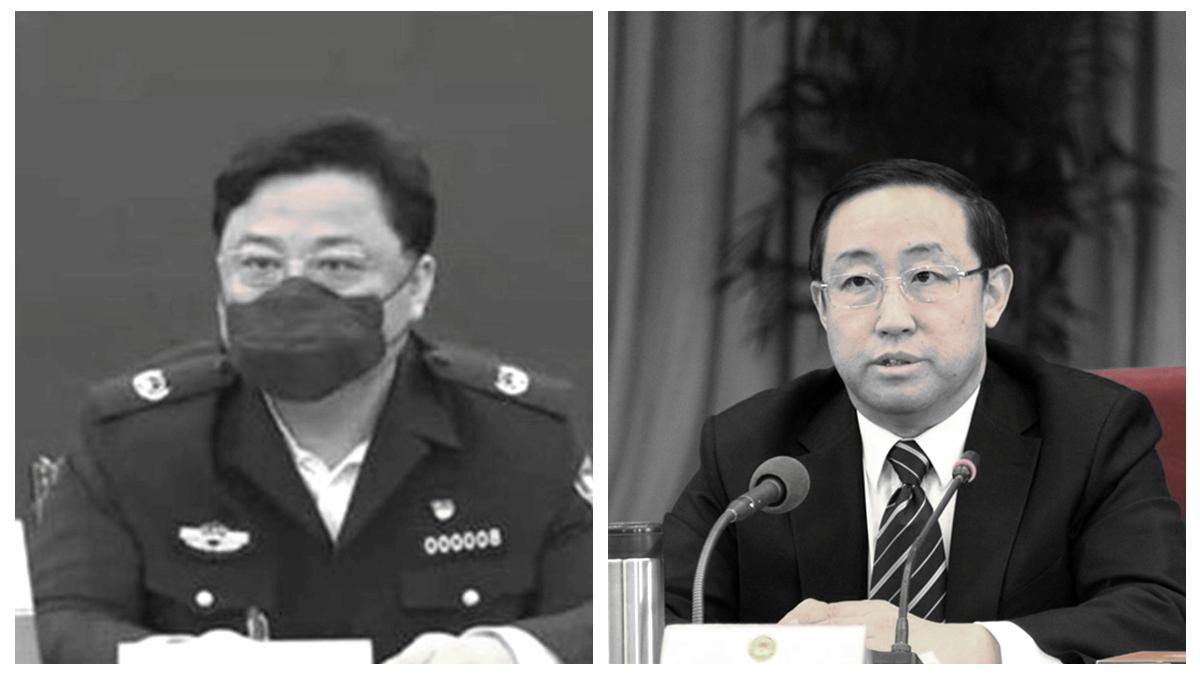 孫力軍(左)落馬次日中共司法部長傅政華(右)的職位出現調整。(合成圖片)