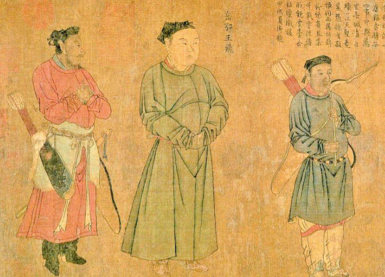 圖為宋‧劉松年繪《中興四將岳飛、張俊、韓世忠、劉光世圖》局部。中為岳飛(公有領域)