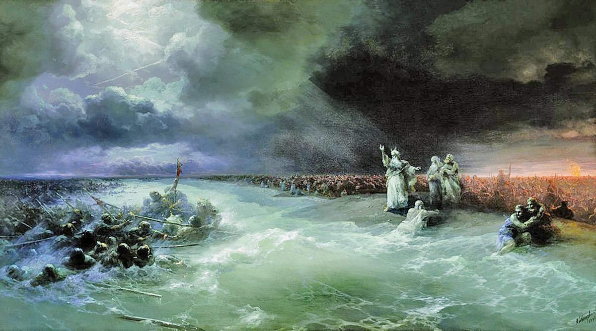摩西帶以色列人過紅海。俄國畫家伊凡艾瓦佐夫斯基創作。(公有領域)
