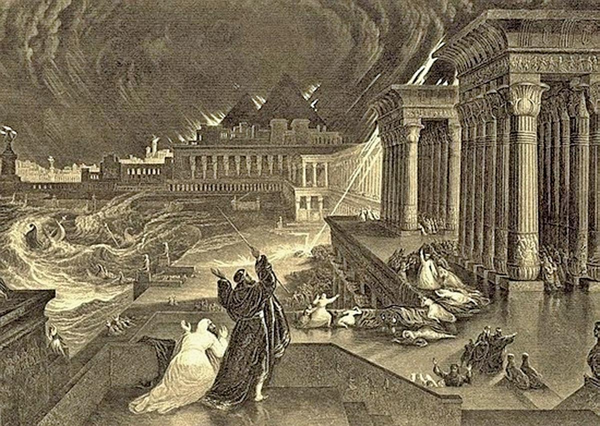 約翰馬丁(John Martin) 1828年雕刻的埃及第七次災難—冰雹之災。(公有領域)