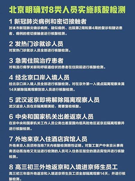 4月19日北京明確對八類人員實施核酸檢測。(網絡截圖)