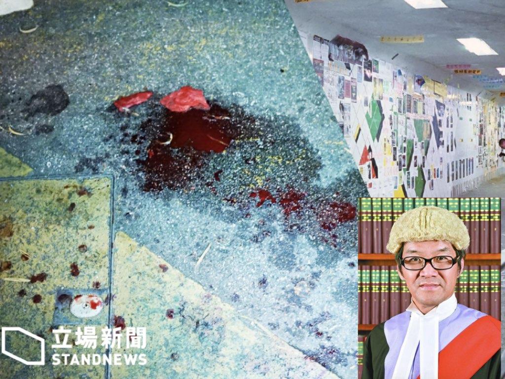 被外界稱為「红底蓝丝法官」的香港区域法院法官郭伟健,就將軍澳景林邨去年8月的連儂隧道斬人案判決時指,被告關心傷者的行為是「情操高尚」,人肉搜發現郭曾因逃避不足400元的身份證補辦費而與入境處糾纏。(立場新聞 / 圖片合成)