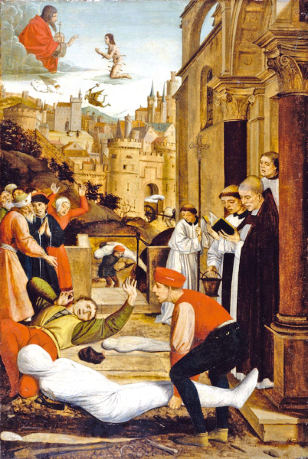 《聖塞巴斯蒂安代瘟疫災區向神祈禱》——尼德蘭畫家若斯‧列菲林西1497年作。(美國巴爾的摩市沃爾特斯藝術博物館藏)
