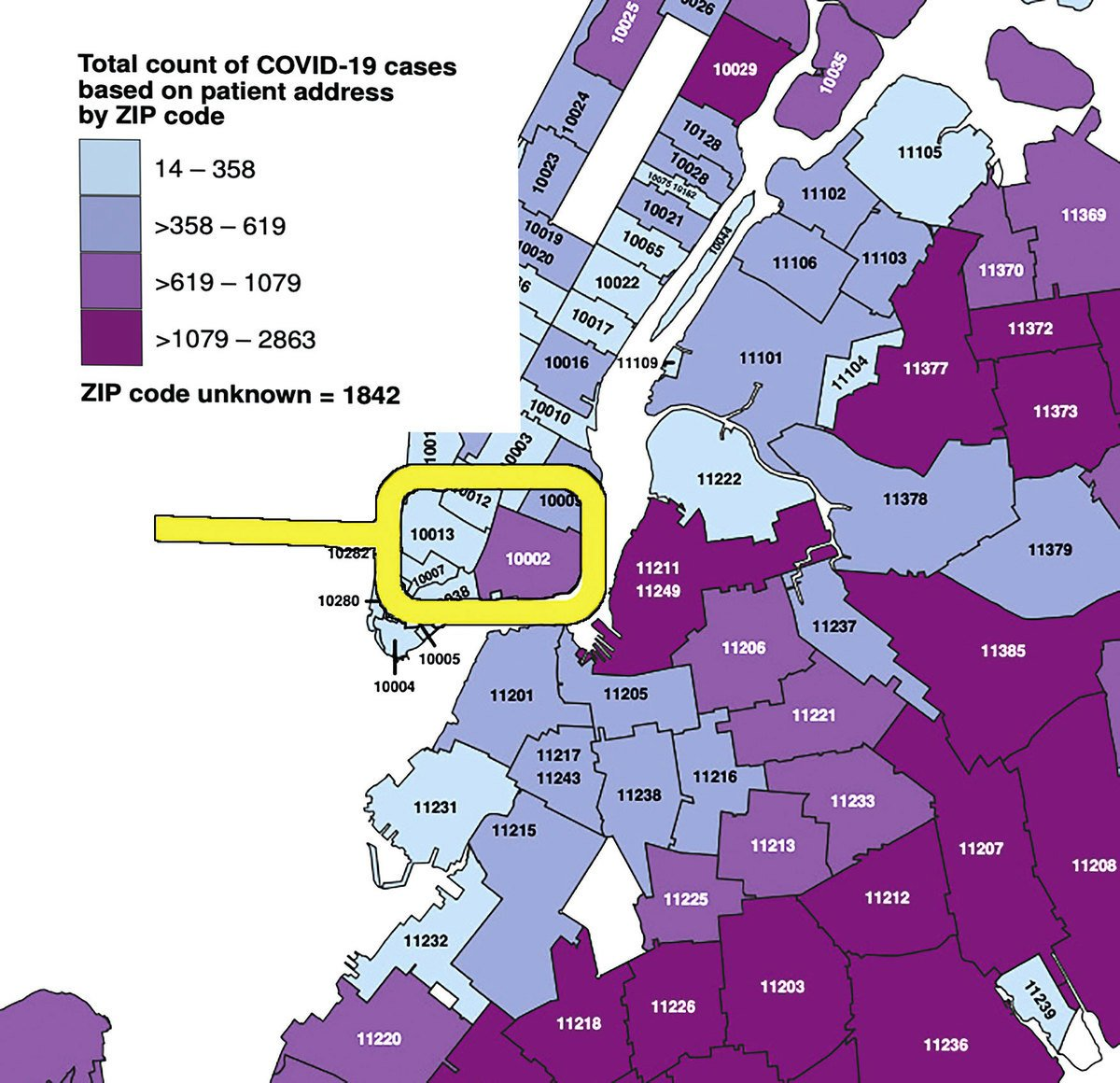 4月20日紐約市疫情圖。傳統僑社所在10013郵編和福建同鄉會等親共僑社所在10002郵編疫情落差甚大。(紐約市衛生局網站)