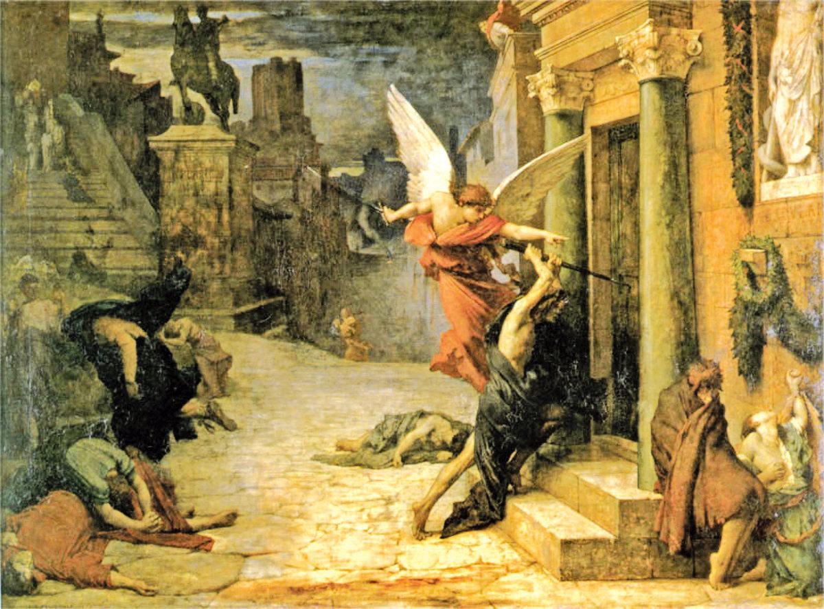 《被瘟疫侵襲的羅馬城》——法國畫家居勒德洛內(Jules Elie Delaunay)1869年作。巴黎奧塞美術館藏。(美國藝術復興中心提供)