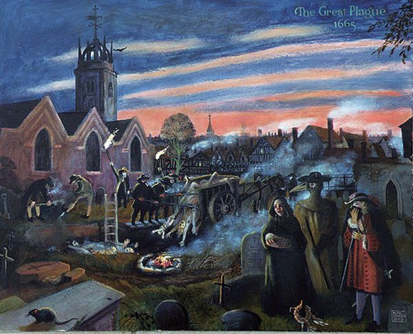 由歷史畫家麗塔格里爾(Rita Greer)所繪大瘟疫時期倫敦街頭的淒慘情況。(維基百科)