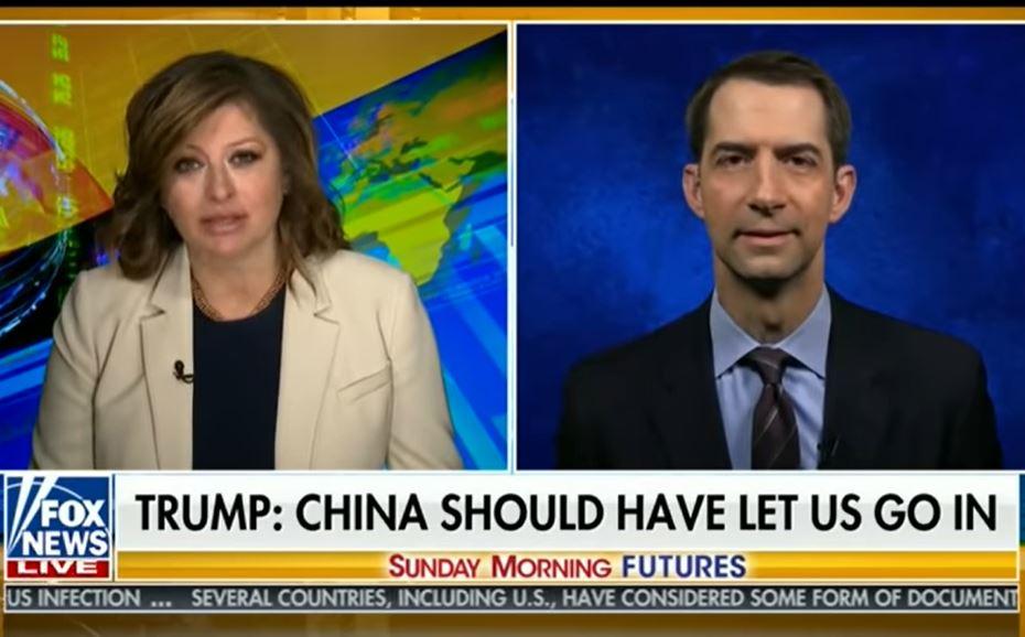 在4月26日福克斯新聞的獨家采訪中,美國參議員科頓(Tom Cotton)表示,「中共病毒起源於武漢兩個實驗室之一。」(視頻截圖)