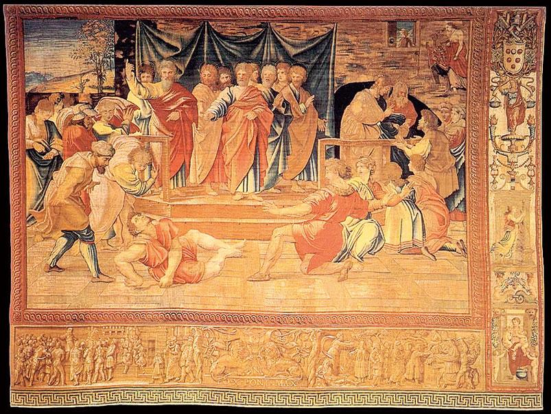 《使徒行傳》五章3~5節中的故事《亞拿尼亞說謊而猝死》(The Death of Ananias),1517~1521。(公有領域)
