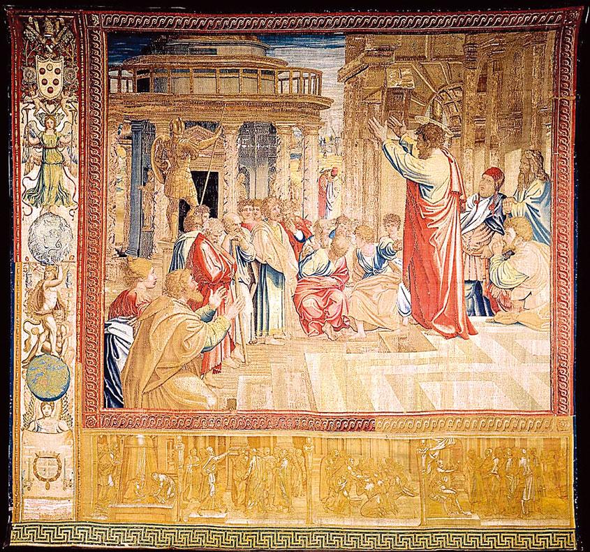 《使徒行傳》十七章22~31節中的故事《聖保羅在雅典傳道》(St. Paul Preaching at Athens),1517~1521。