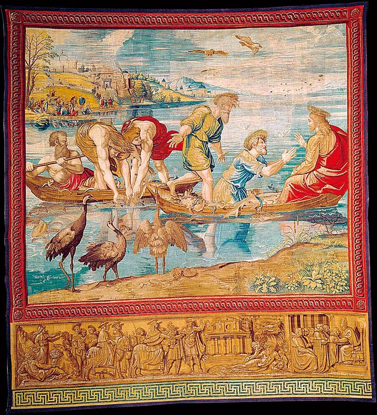 《路加福音》五章4~10節中的故事《撒網捕魚的神蹟》(The Miraculous Draft of Fishes),1517~1519。