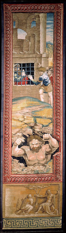 《使徒行傳》十六章23~26節中的故事《聖保羅在囚》﹝St. Paul in Prison (Earthquake)﹞,1517~1521。