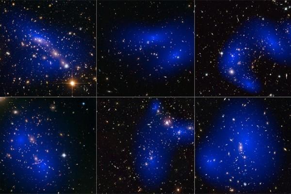 科學家曾根據星系碰撞,繪製星系團中的暗物質(顯示為藍色),發現暗物質超乎想像。(NASA/ESA/D. Harvey/R. Massey等)