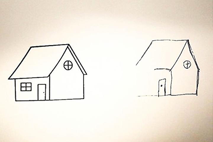 如果被要求模仿作畫,有「半邊忽略」症狀患者的作品缺少部分畫面。(攝影/韓慧琳)