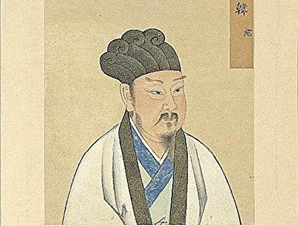 韓愈仔細思索賈島的詩,認為「敲」字更佳。圖為《至聖先賢半身像.韓愈》,台北國立故宮博物院藏(公有領域)