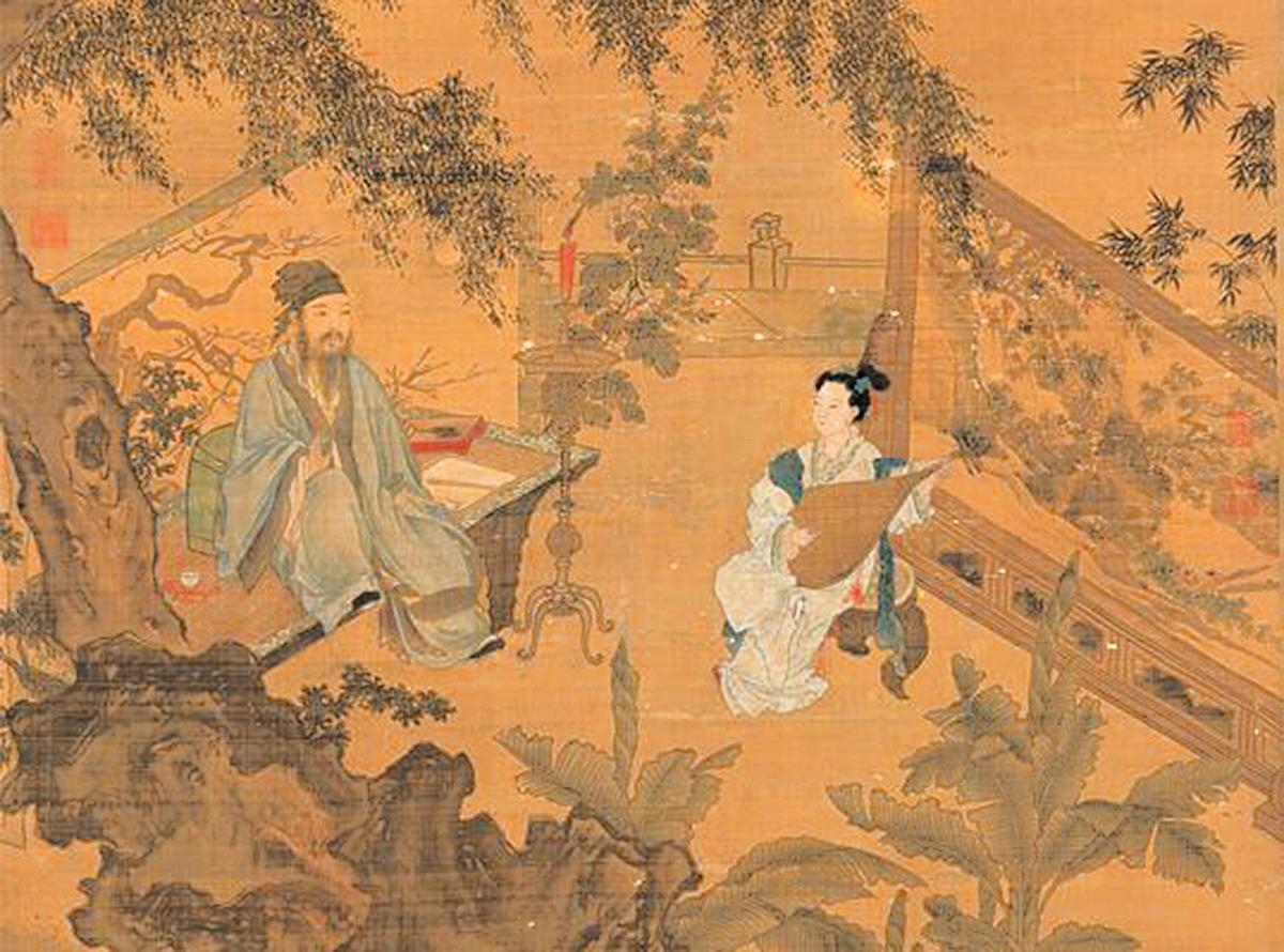 等到黃道吉日,學士和夫人親自主婚,在眾人的祝福中,華安和秋香結為夫妻。圖為明‧唐寅《陶穀贈詞圖》局部(公有領域)