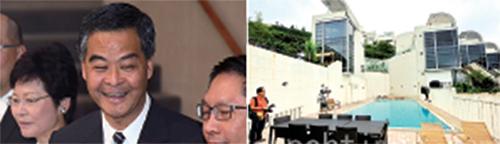 梁振英——山頂貝璐道4號裕熙園僭建面積110平方呎三邊密封玻璃棚。(大 紀元資料圖片)