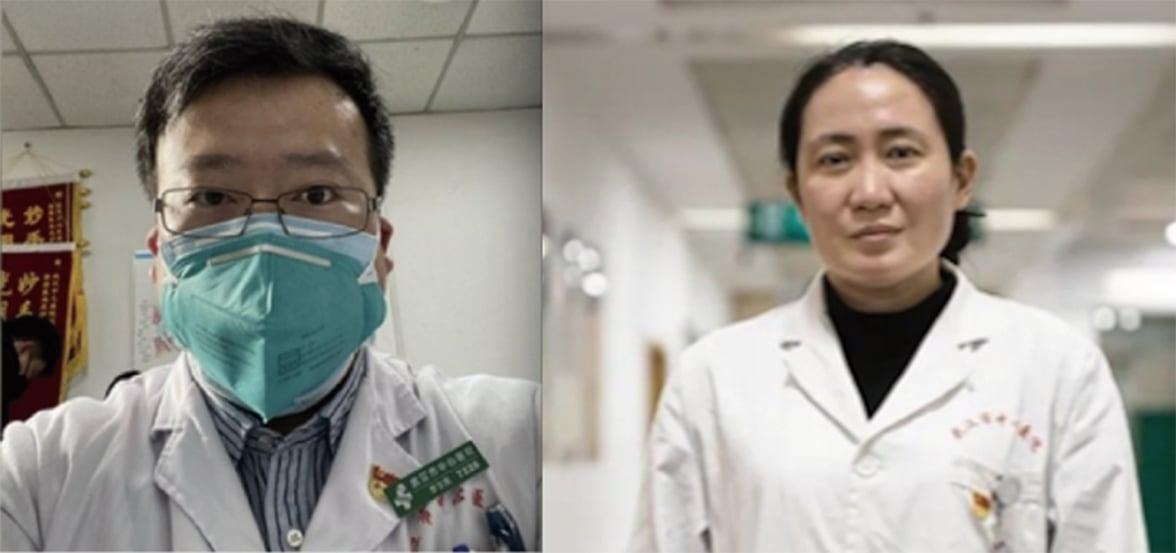 李文亮( 左)和艾芬醫生。