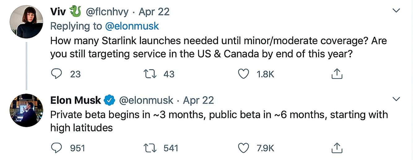 SpaceX創始人兼首席執行官馬斯克,4月22日發推文表示,將於年內開通星鏈網絡測試。(推特截圖)