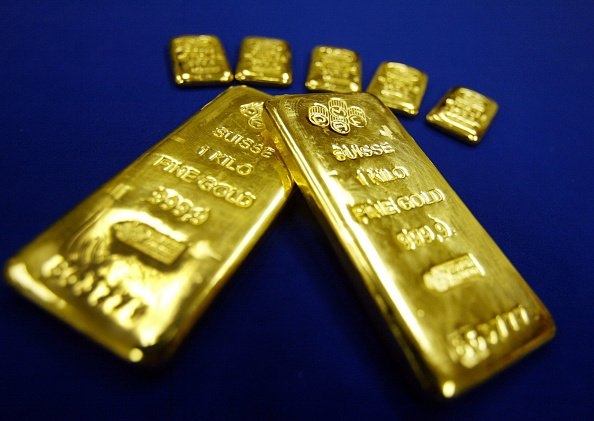 紐約市場上的一公斤瑞士黃金。(Mario Tama/Getty Images)