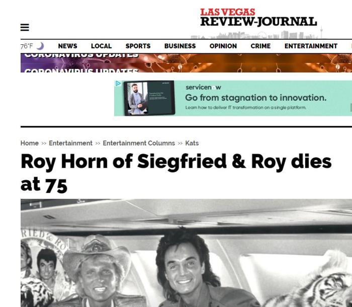 當地時間5月8日,《拉斯維加斯評論報》刊登了羅伊霍恩去世的消息。圖片來源:《拉斯維加斯評論報》網站截圖。