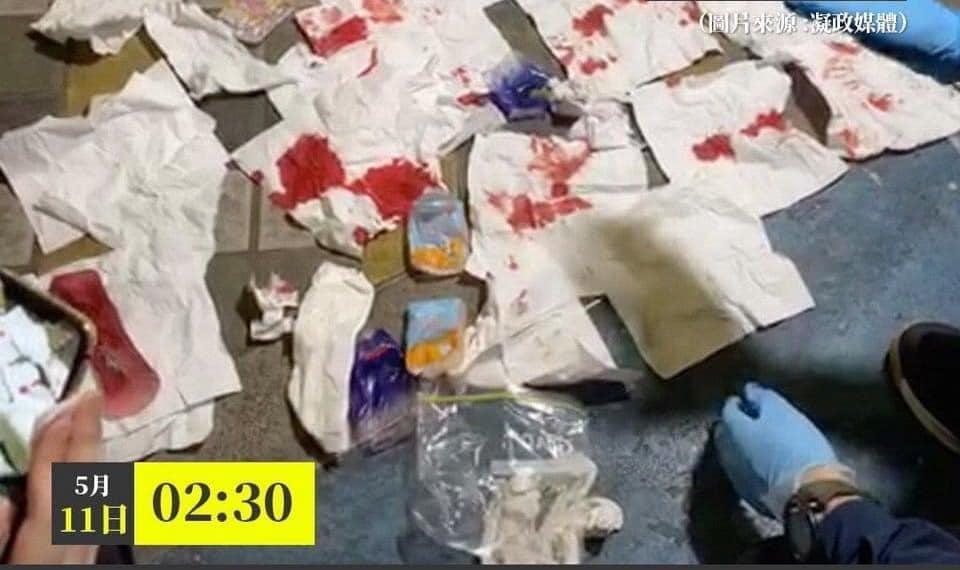 女廁內的扶手和地板上有血跡,垃圾桶內亦有數張染血的紙巾。(影片截圖)
