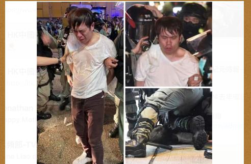 4月10日母親節,鄺俊宇在旺角被撞跌後,群警湧上逮捕,4月11日凌晨送伊莉莎白醫院救治。(網絡截圖)