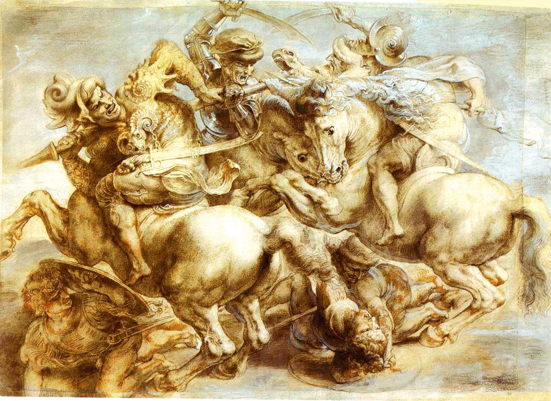 魯本斯的《安加里之戰》摹本。(公有領域)
