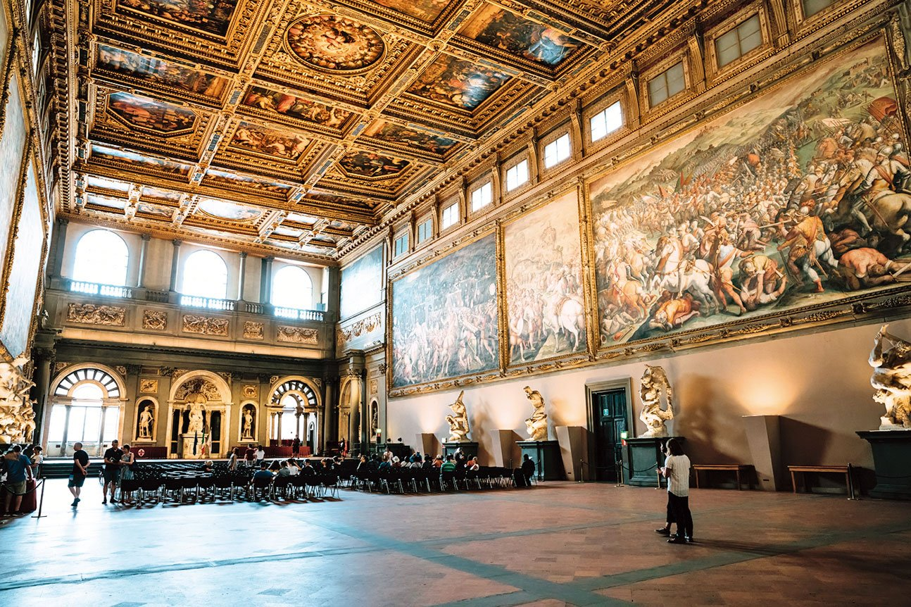 佛羅倫斯領主廣場的維奇歐宮(舊宮)500人會議廳。(Shutterstock)