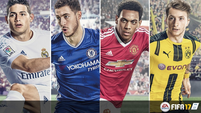 《FIFA 17》4位候選封面人物,左起:占士洛迪古斯(James Rodríguez)、伊登夏薩特(Eden Hazard)、安東尼馬素爾(Anthony Martial)及馬高列奧斯(Marco Reus)。(EA Sports)