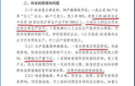 旬邑縣政府《2020年一季度經濟運行情況匯報》披露,旬邑縣恢復正常生產水平70%的「五上」企業不足四成。(大紀元)