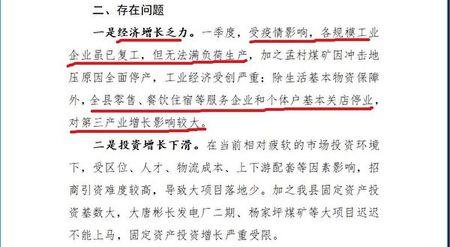 《大紀元》獲得的長武縣政府文件,披露「經濟增長乏力」。(大紀元)