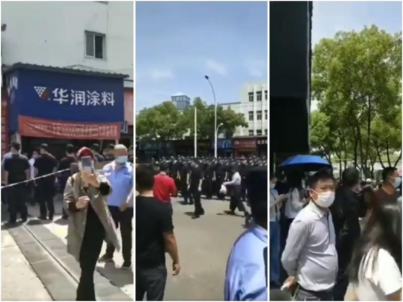 武漢東西湖三民小區因疫情全封閉管理 所有上班族停工。(視頻截圖、大紀元合成)
