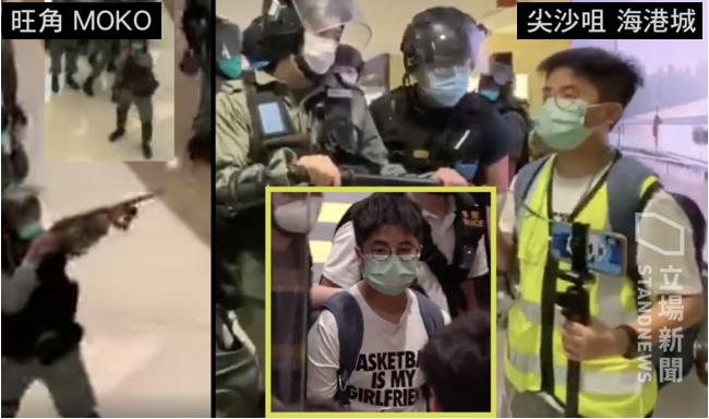 警察母親節衝入旺角、尖沙咀,和多個商場驅散聚集「和你唱」的市民,並從海港城帶走一名13歲的學生記者。(立場新聞)