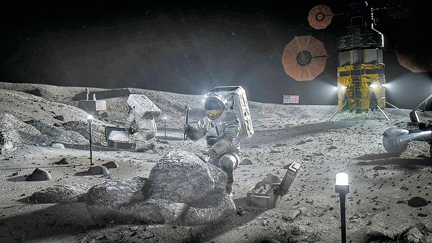 美國國家航空航天局NASA阿提米絲登月計劃的完成渲染圖。(NASA)