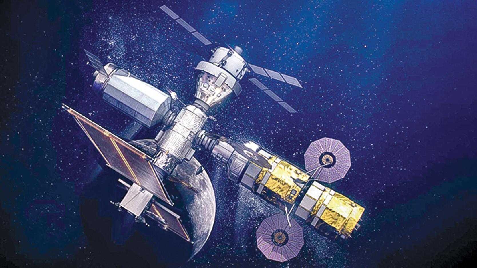 NASA阿提米絲登月計劃的月球軌道中轉基地的完成渲染圖。(NASA)