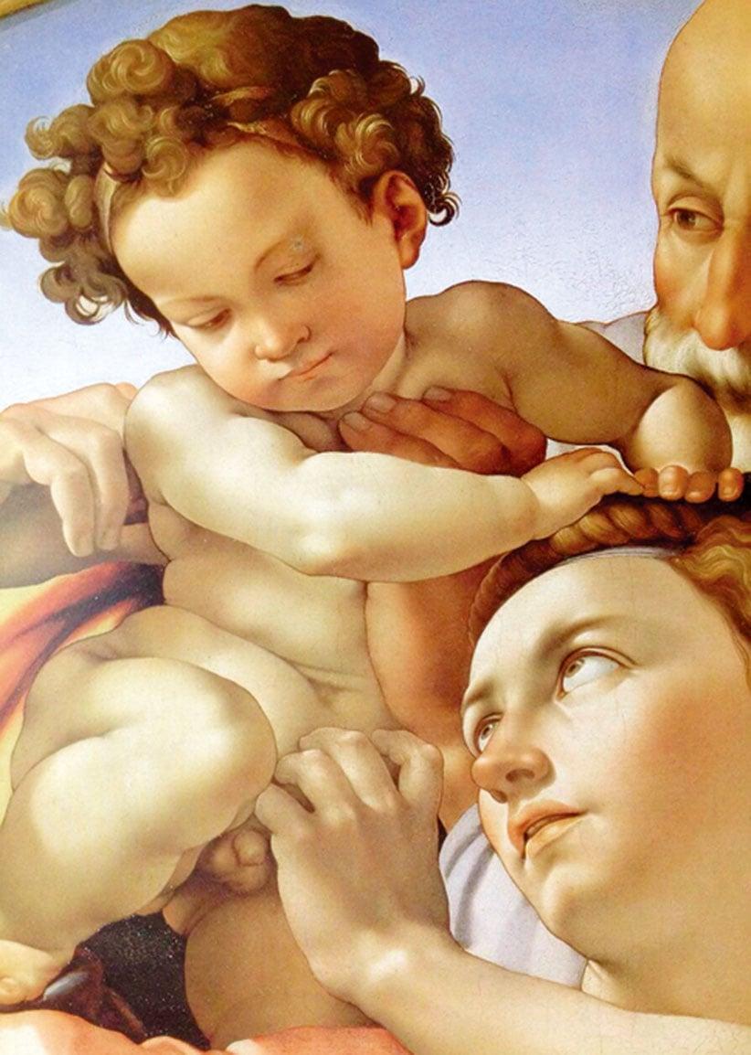米開朗基羅的《聖家族》局部。(公有領域)