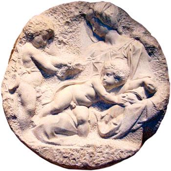 《塔戴圓浮雕》(Tadai Tondo 或稱《塔戴聖母》)(1504~1505年)。(PawełMM/Wikimedia commons)