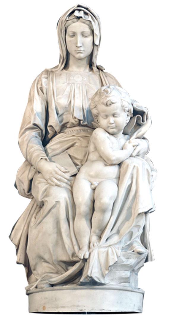 《布魯日聖母》雕像(1501~1503年)莊嚴靜肅。(Shutterstock)
