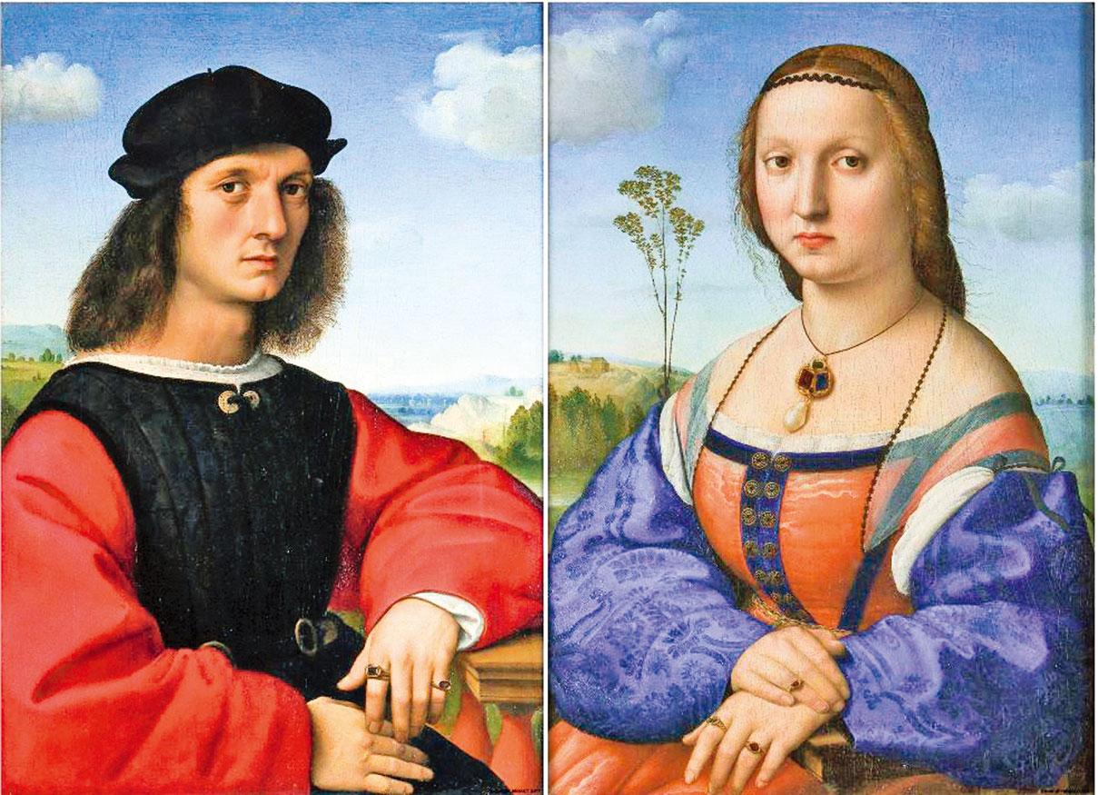 拉斐爾繪製的《多尼夫婦肖像》(1505~1506年)。(公有領域)