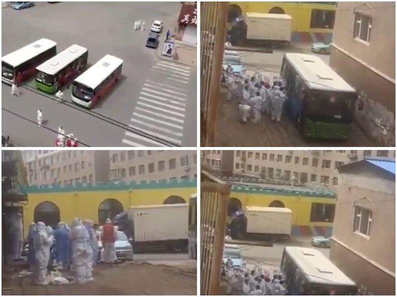 5月15日中午,十幾輛坐滿醫護人員的大巴陸續開進舒蘭市建馨園小區,進行大範圍的核酸檢測,排查所有可能的感染者。(視頻截圖/大紀元合成圖)