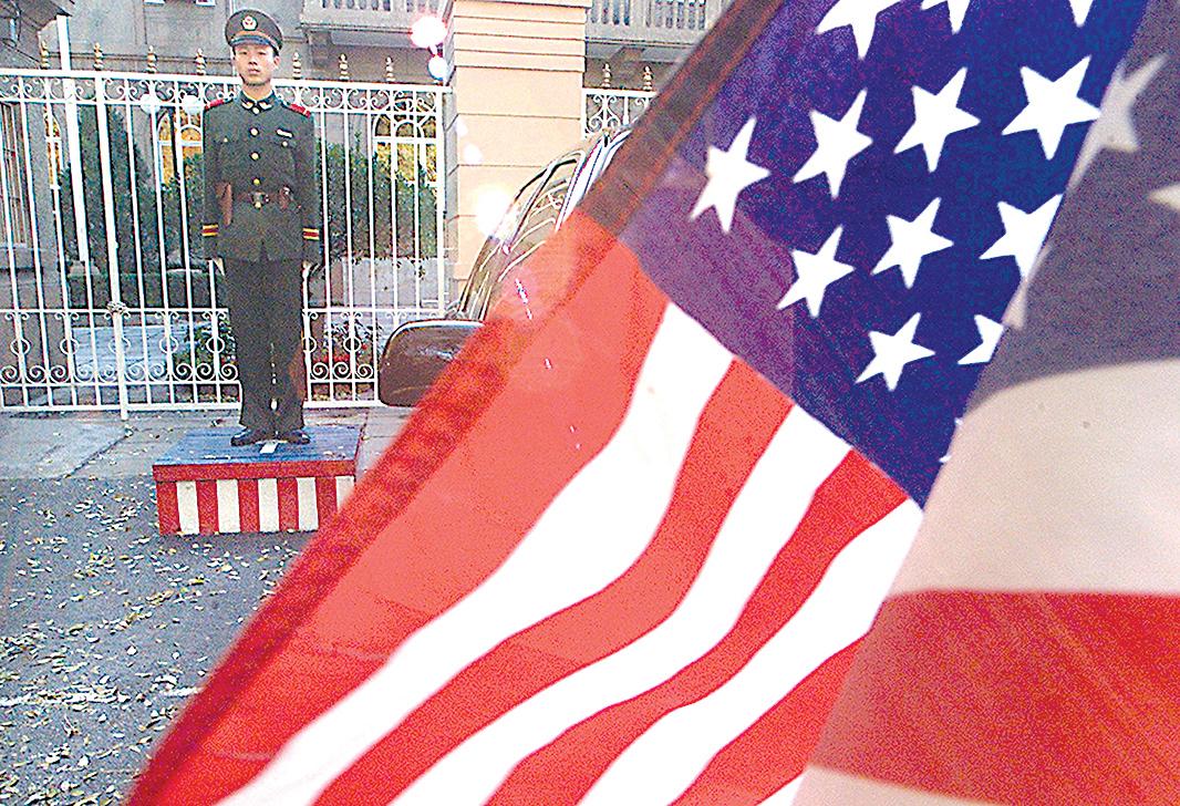 中國北京市,美國駐中國大使館門前。(Getty Images)