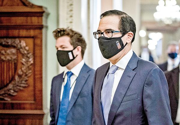 美國財政部長姆欽19日在國會。(Getty Images)