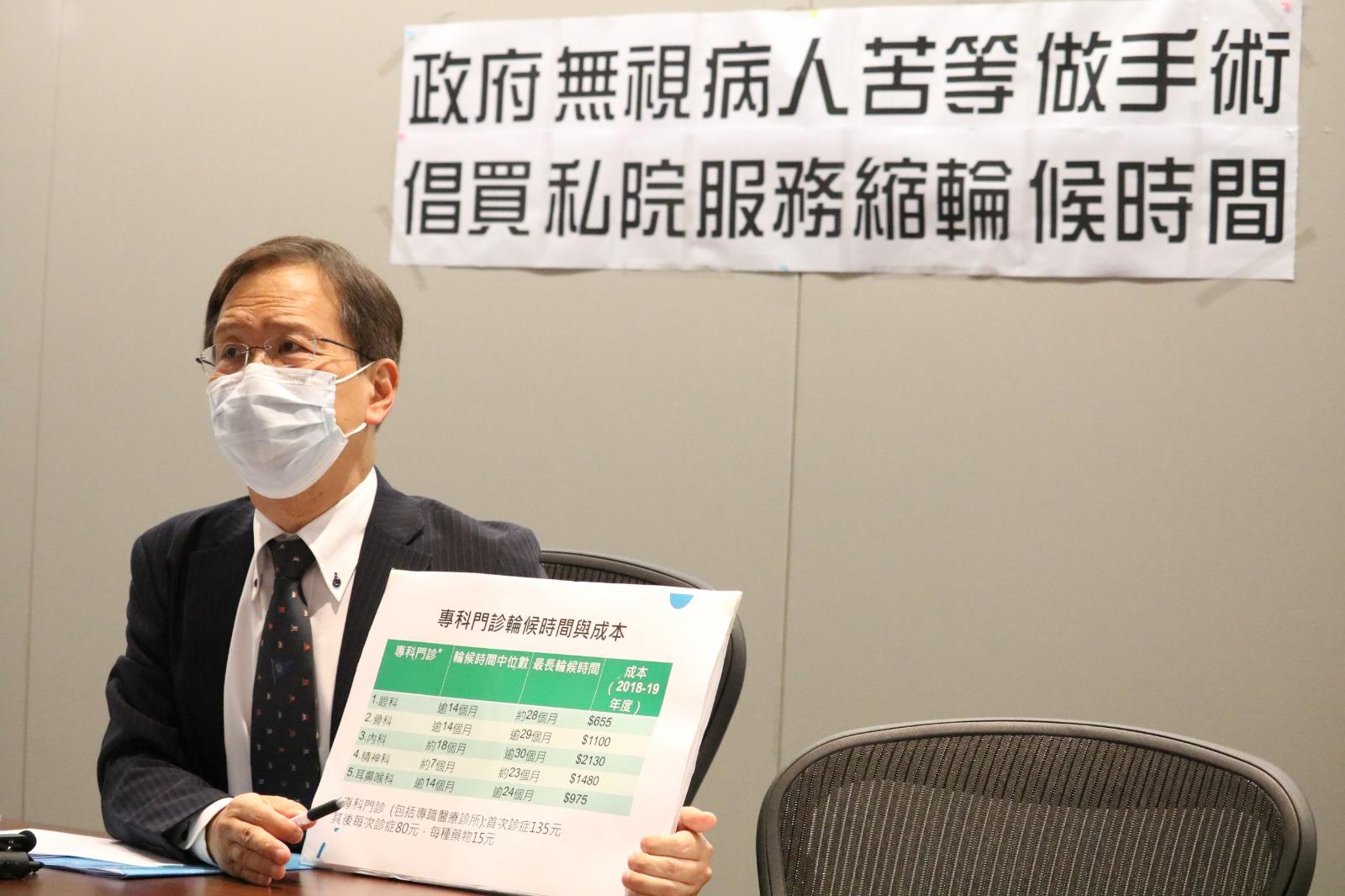 香港立法會議員郭家麒舉行記者會,建議政府增撥儲備擴大公私營協作計劃,涵蓋非緊急手術及專科門診新症。(大紀元)