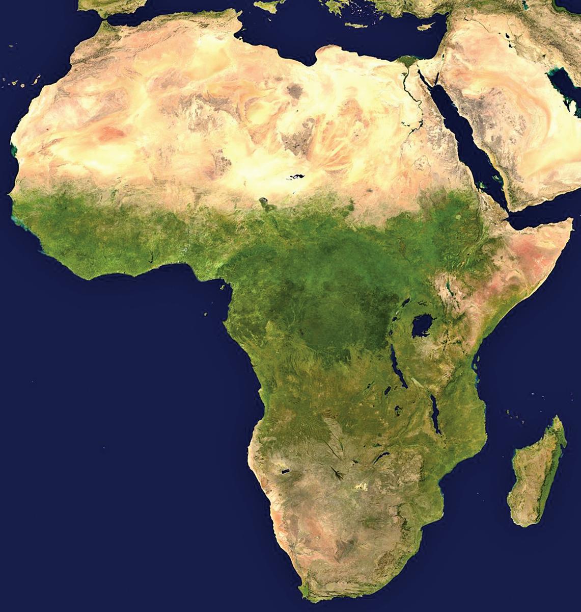 非洲大陸衛星影像圖。(Wikimedia commons)