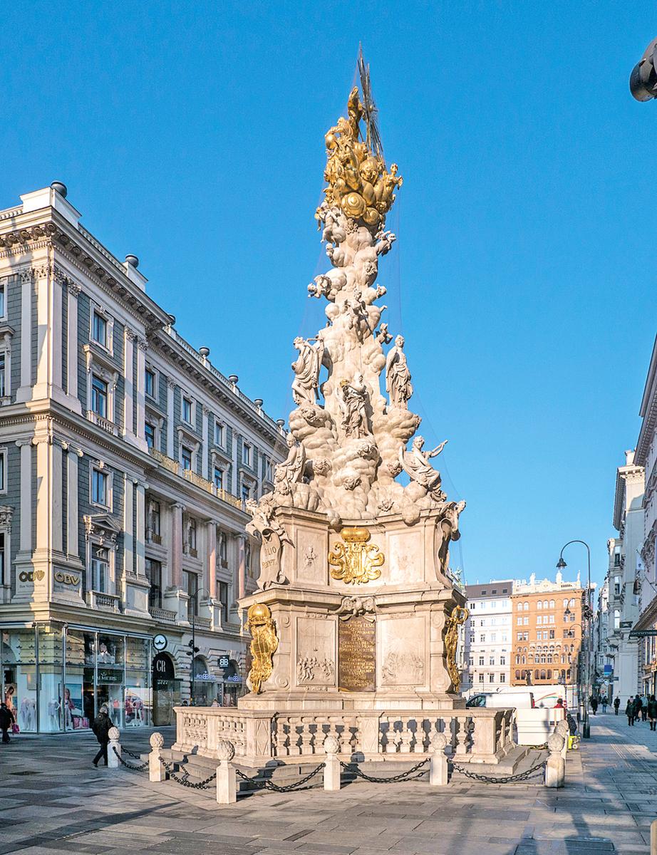 1679年的奧地利維也納黑死病(鼠疫)肆虐,瘟疫奪走了三分之二維也納人的生命。為了紀念死於鼠疫的受難者,當時的奧地利皇帝下令建造了一尊紀念柱。圖為矗立在維也納的黑死病紀念柱。 (wikimedia)