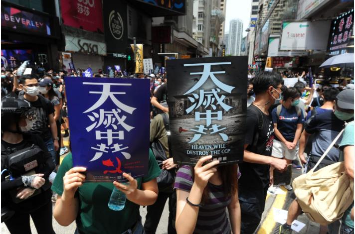 5月24日星期天,因中共人大宣佈將強推「港版國安法」,引發香港民眾不顧「限聚令」上街表達不滿。(宋碧龍/大紀元)